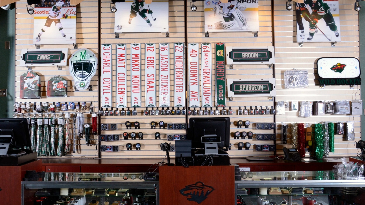 Minnesota Wild memorabilia at the Hockey Lodge