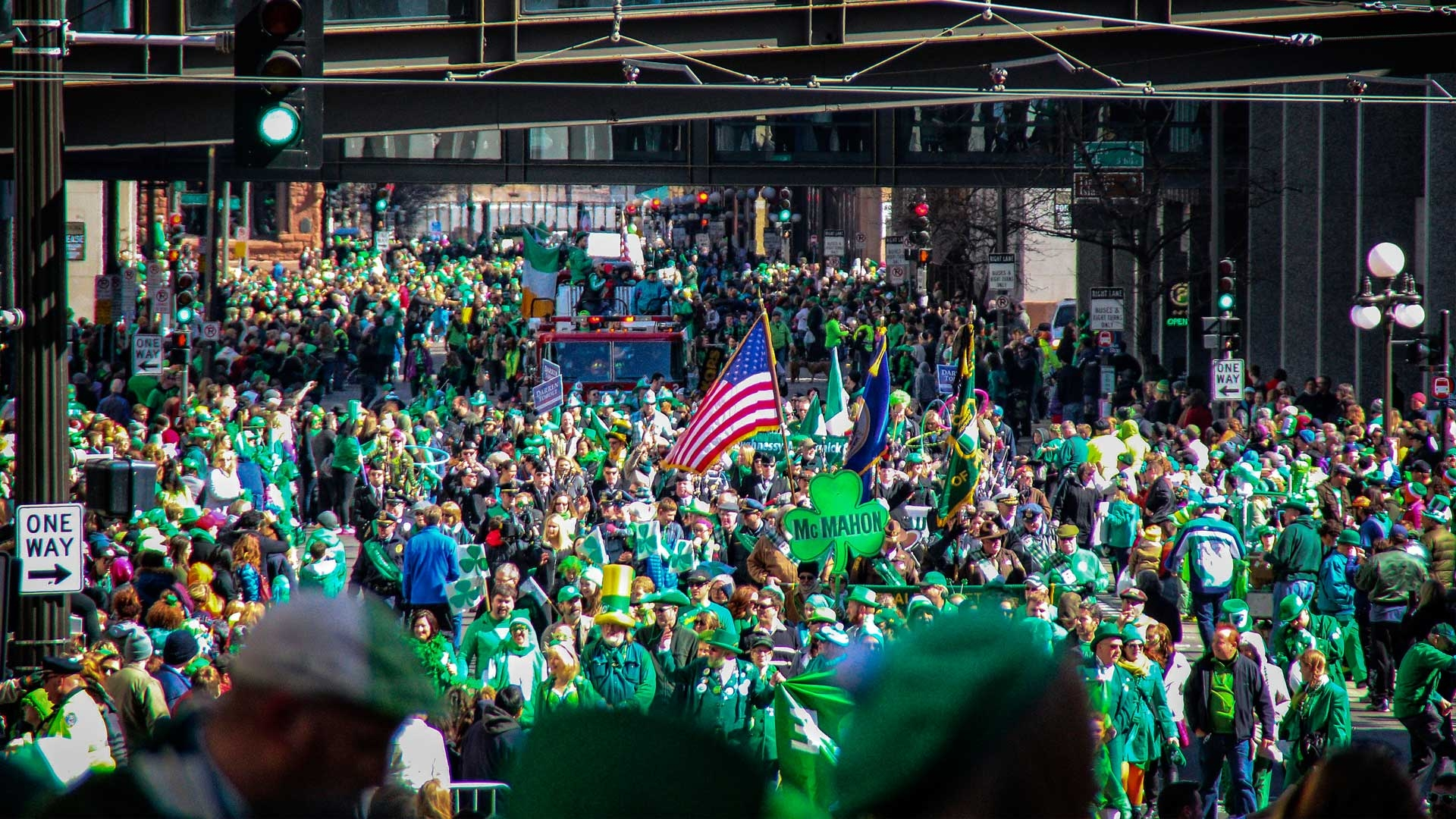 U.S. colors stood out in a field of green at the St. Paul, Minnesota, St. Patrick's Day parade, 2015(?). Photo from VisitStPaul.com.