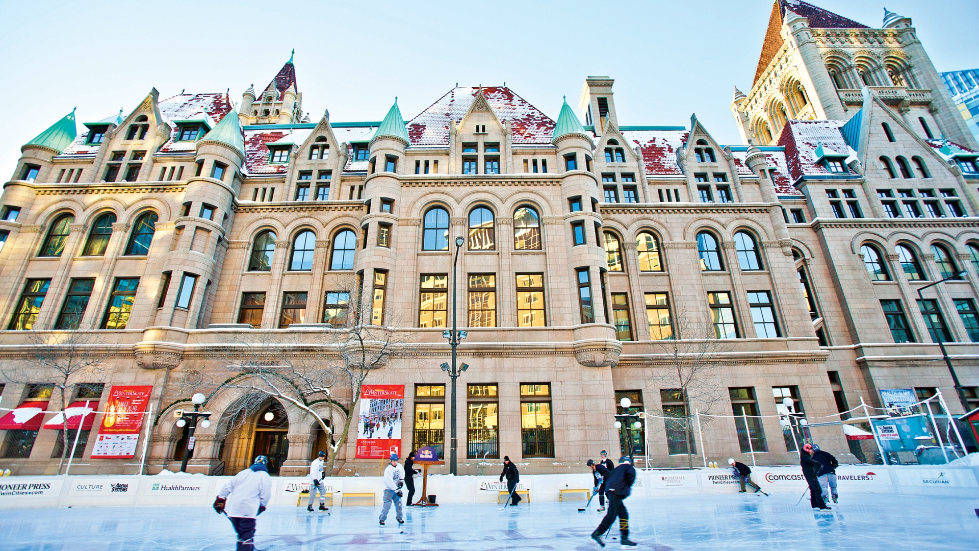 Ice skate in a unique urban setting in downtown Saint Paul next to Landmark Center.
