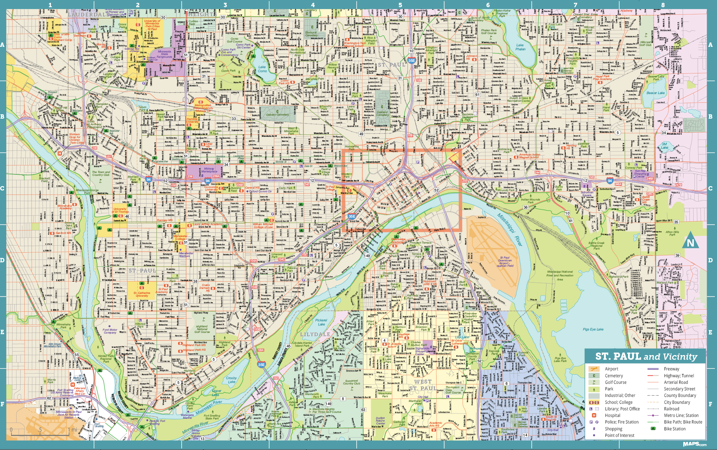 St Paul Traffic Map.Saint Paul Insider S Map Visit Saint Paul